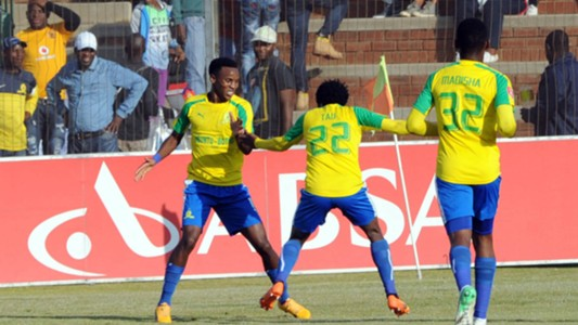 Themba Zwane Percy Tau and Motjeka Madisha of Sundowns