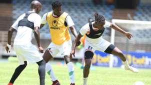 Christopher Mbamba Dennis Odhiambo and Allan Wanga of Kenya Harambee Stars.