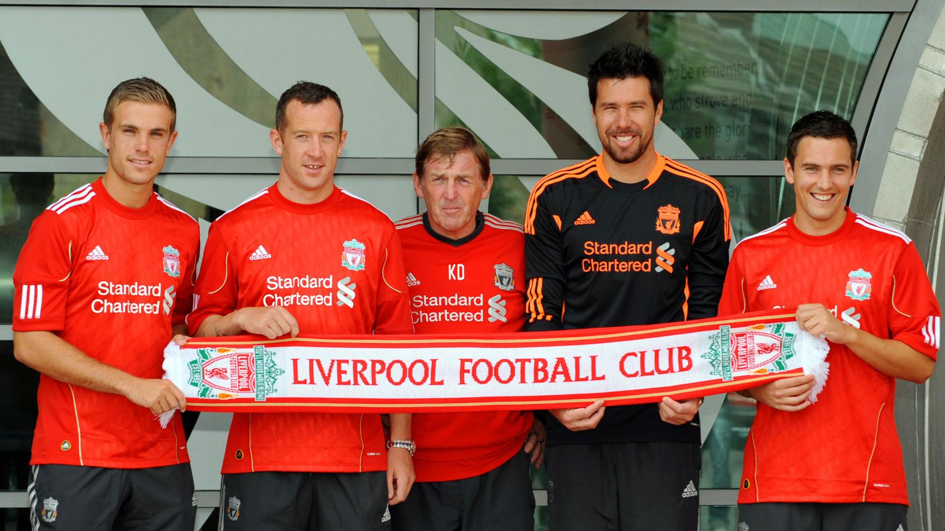 Kenny Dalglish Liverpool Jordan Henderson Charlie Adam Alexander Doni Stewart Downing 2011