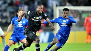 Ben Motshwari of Orlando Pirates challenged by Tebogo Mokoena of Supersport United, August 2018