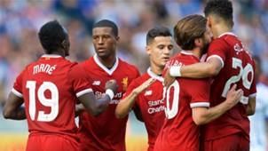 Lallana Solanke Mane Coutinho Wijnaldum Liverpool celebrate