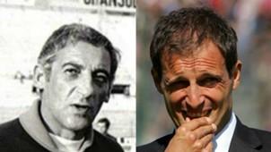 Manlio Scopigno Massimiliano Allegri collage Cagliari Serie A