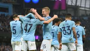 Man City celebrate vs Rotherham