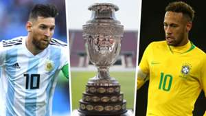 Lionel Messi Neymar Copa America trophy