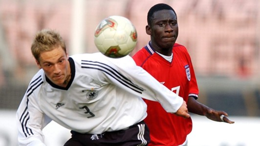 Cherno Samba of England and Germany's Patrick Milchraum
