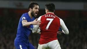 Cesc Fabregas y Alexis Sánchez. Arsenal Chelsea 03012018