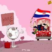 Cartoon Croatia and Football is going home