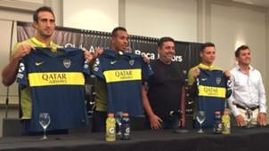 Presentación Carlos Izquierdoz Sebastian Villa Daniel Angelici Mauro Zarate Boca Juniors camiseta