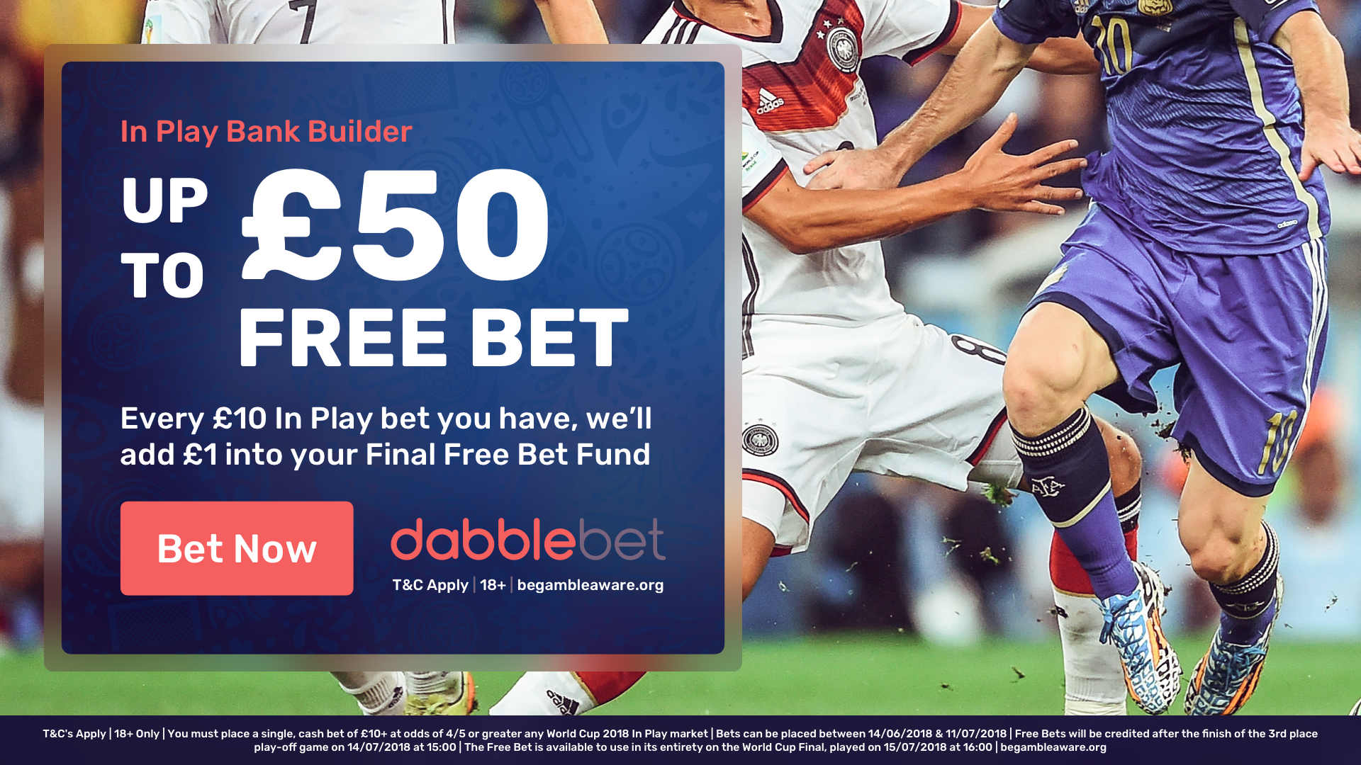 dabblebet in-play free bet World Cup final bank builder in article