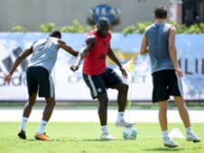 Romalu Lukaku in United's training session