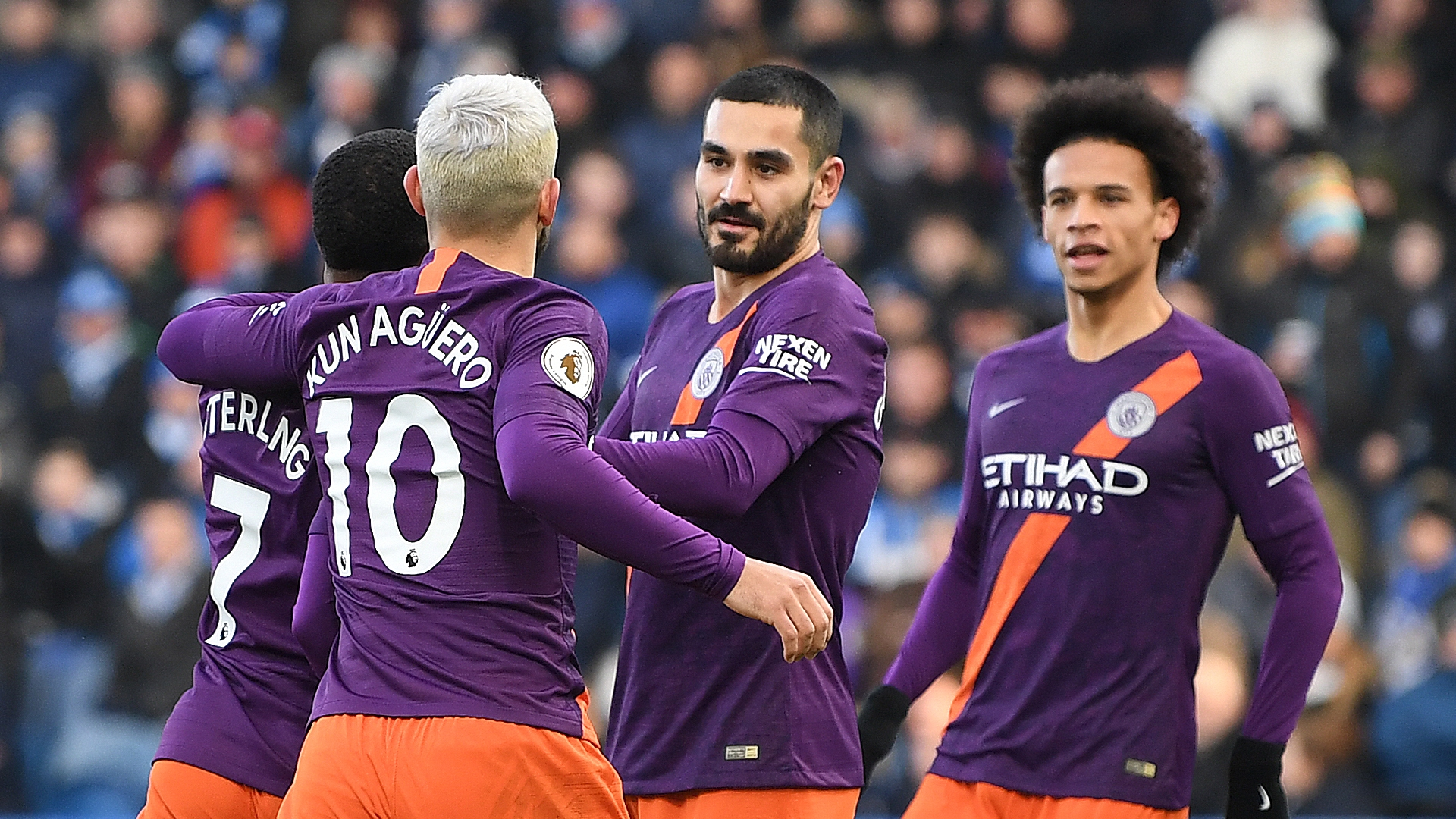 Man City celebrate vs Huddersfield