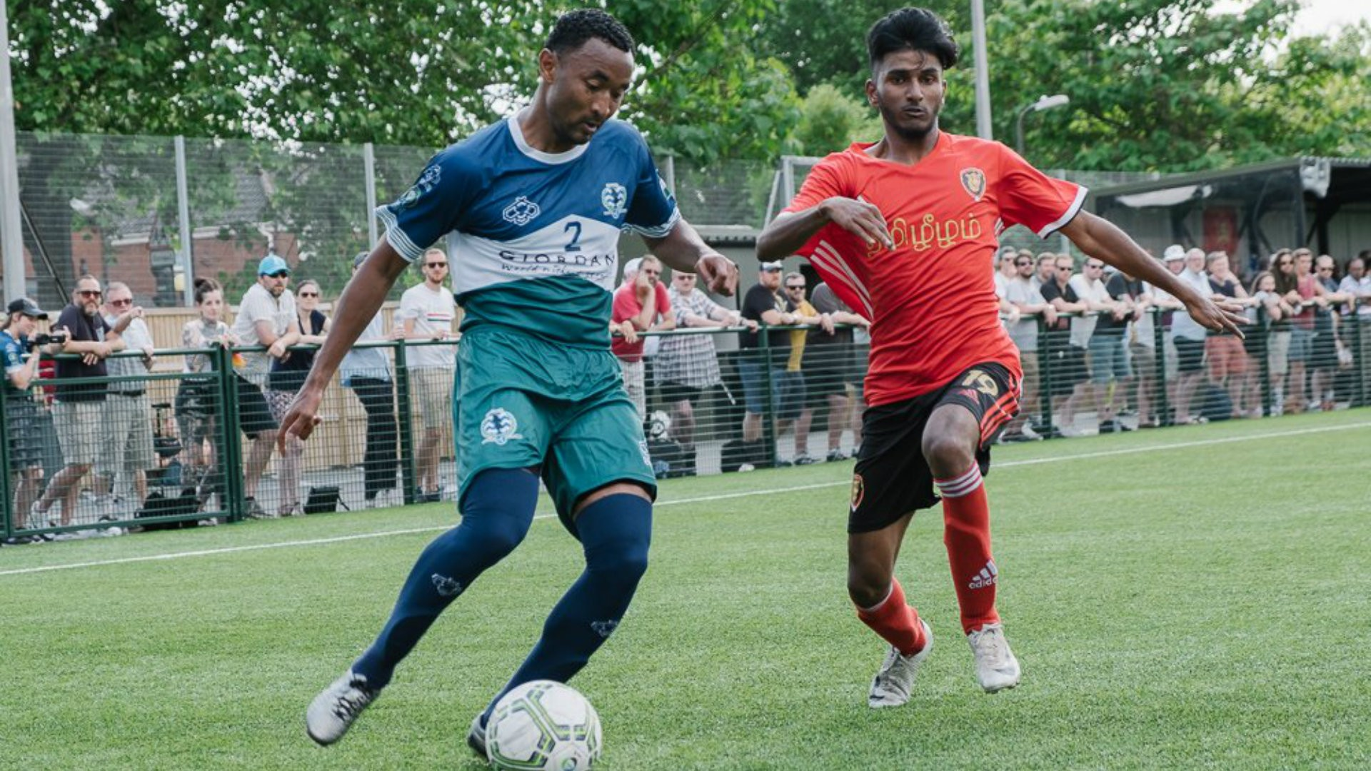 James Riley exhibits his signature finesse with the football at the CONIFA WFC2018 in a match against Tamil Eelam