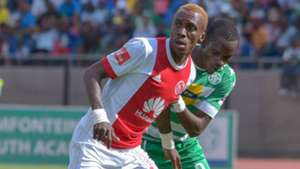 Yannick Zakri of Ajax Cape Town and Ronald Pfumbizai of Bloemfontein Celtic