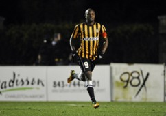 Dane Kelly #9 of the Charleston Battery celebrates after scoring a goal against the Vancouver Whitecaps FC