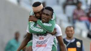 Nigerian player Chinonso Christian Obiozor (R) celebrates with teammate Odunlami Kunle (L)