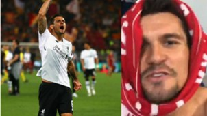 Lovren after Liverpool win in Rome collage