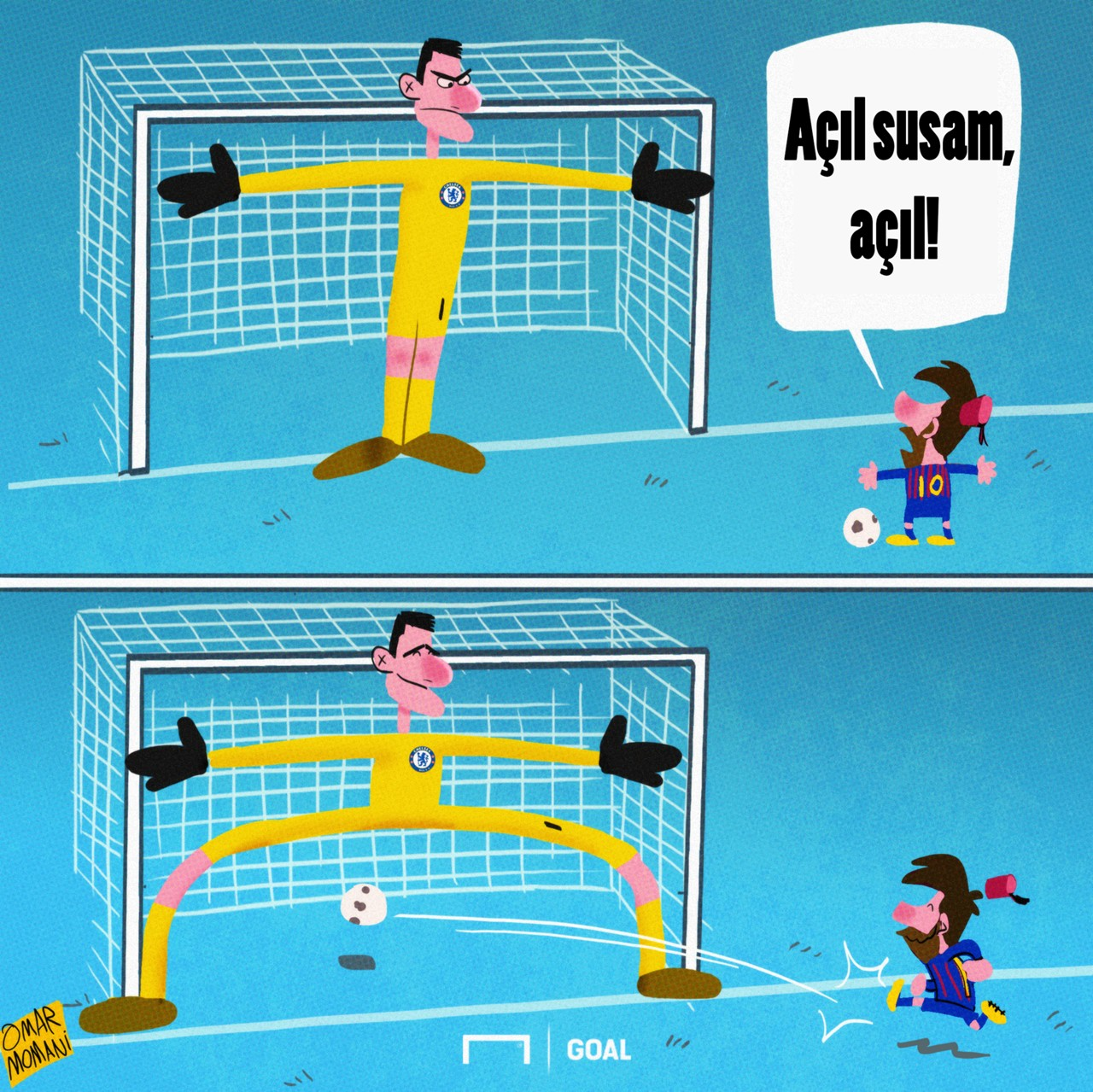 Messi Courtois Barcelona Chelsea cartoon