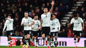Dejan Lovren celebrates FC Liverpool 17122017