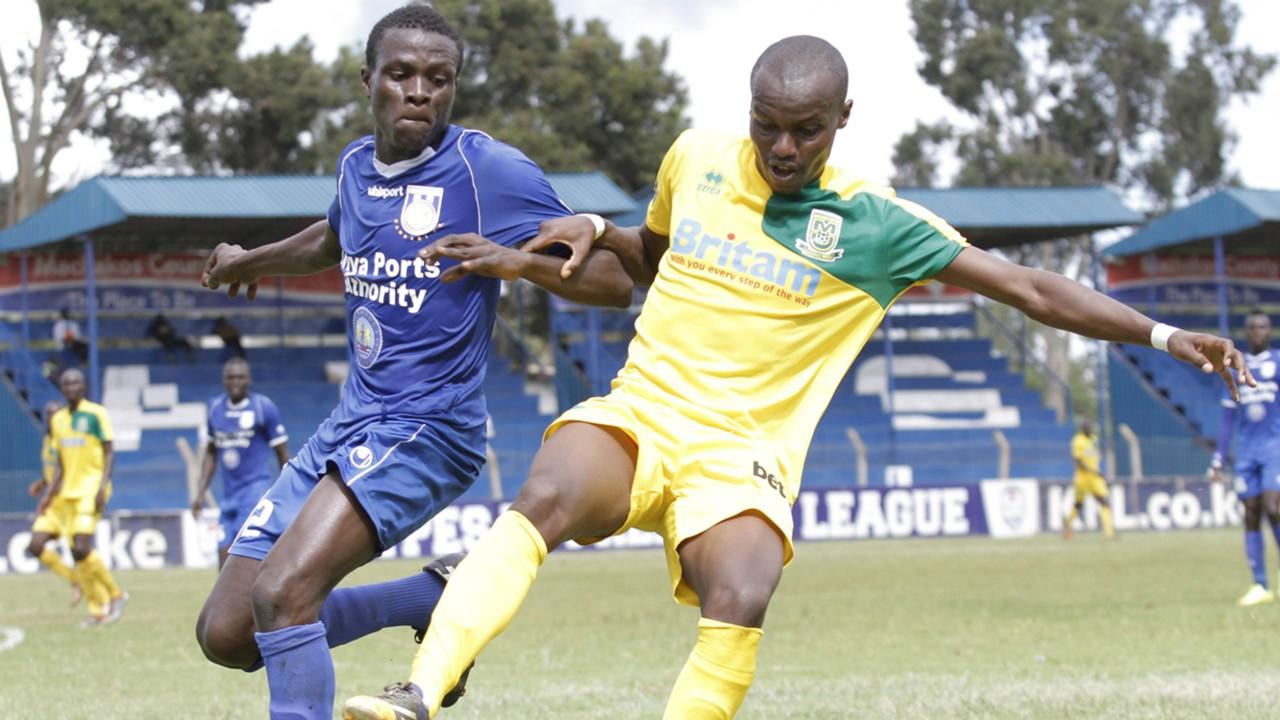 Mathare United's Daniel Mwaura v Duncan Otewa of Bandari.