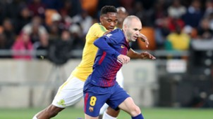 Mamelodi Sundowns Sibusiso Vilakazi and Barcelona Andres Iniesta, May 2018