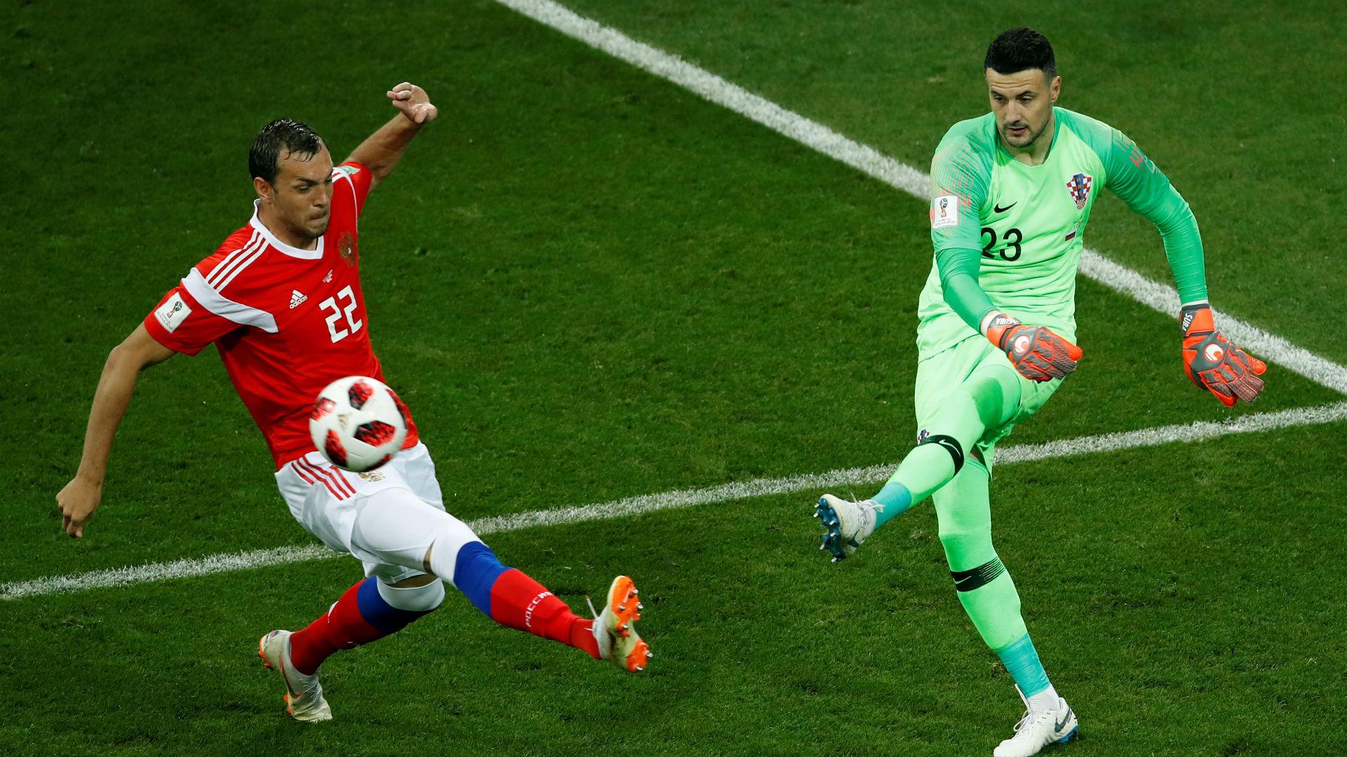 russia croatia - danijel subasic artem dzyuba - world cup - 07072018