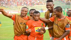 Kotoko's Emmanuel Gyamfi celebrating his goal with team mates