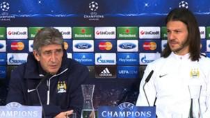 Martín Demichelis y Manuel Pellegrini Manchester City time