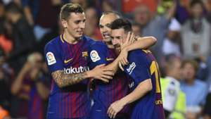 Andres Iniesta Lucas Digne Lionel Messi Barcelona La Liga