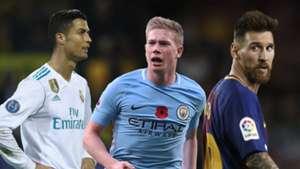 Ronaldo, Messi, De Bruyne