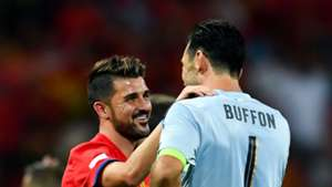David Villa Gianluigi Buffon Spain Italy