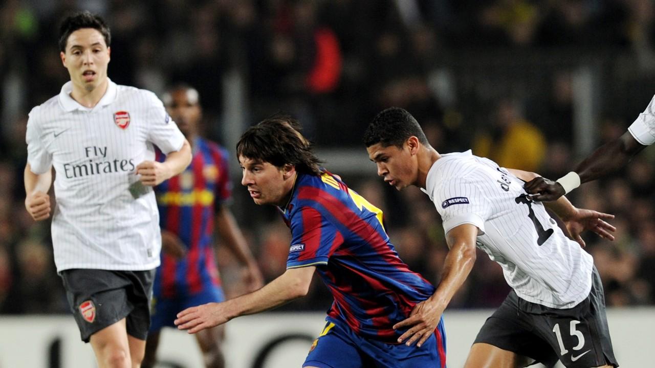 Lionel Messi Barcelona Samir Nasri Denilson Arsenal 2010
