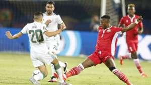 YOUCEF ATAL Riyad Mahrez ABUD OMAR and Ayub Timbe of Harambee Stars (Kenya) v Algeria.