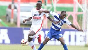 Brian Birgen of Ulinzi Stars and Whyvonne Isuza of AFC Leopards.