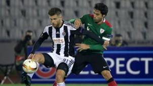 Alen Stevanovic Xabier Etxeita Partizan Athletic Bilbao UEFA Europa League 12222015