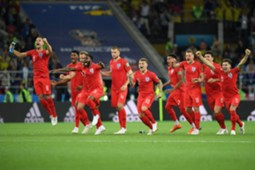 England celebrating pen shootout Colombia