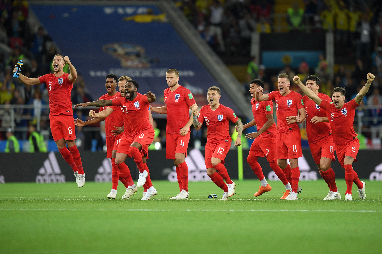 England celebrating pen shootout Colombia