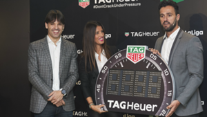 Kiko and Morientes, former Real Madrid and Atletico players, during a Tag Heuer promotional event