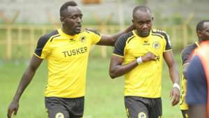 Tusker's Eugene Asike and Timothy Otieno.