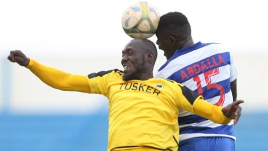 Stephen Owusu of Tusker v Abdallah of AFC Leopards