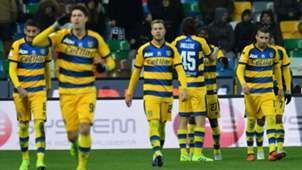 Parma players celebrating Udinese Parma Serie A