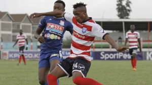 Edwin Mwaura of Posta Rangers v Sammy Ndungu of AFC Leopards.