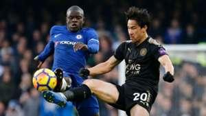 Ngolo Kante Shinji Okazaki Chelsea Leicester