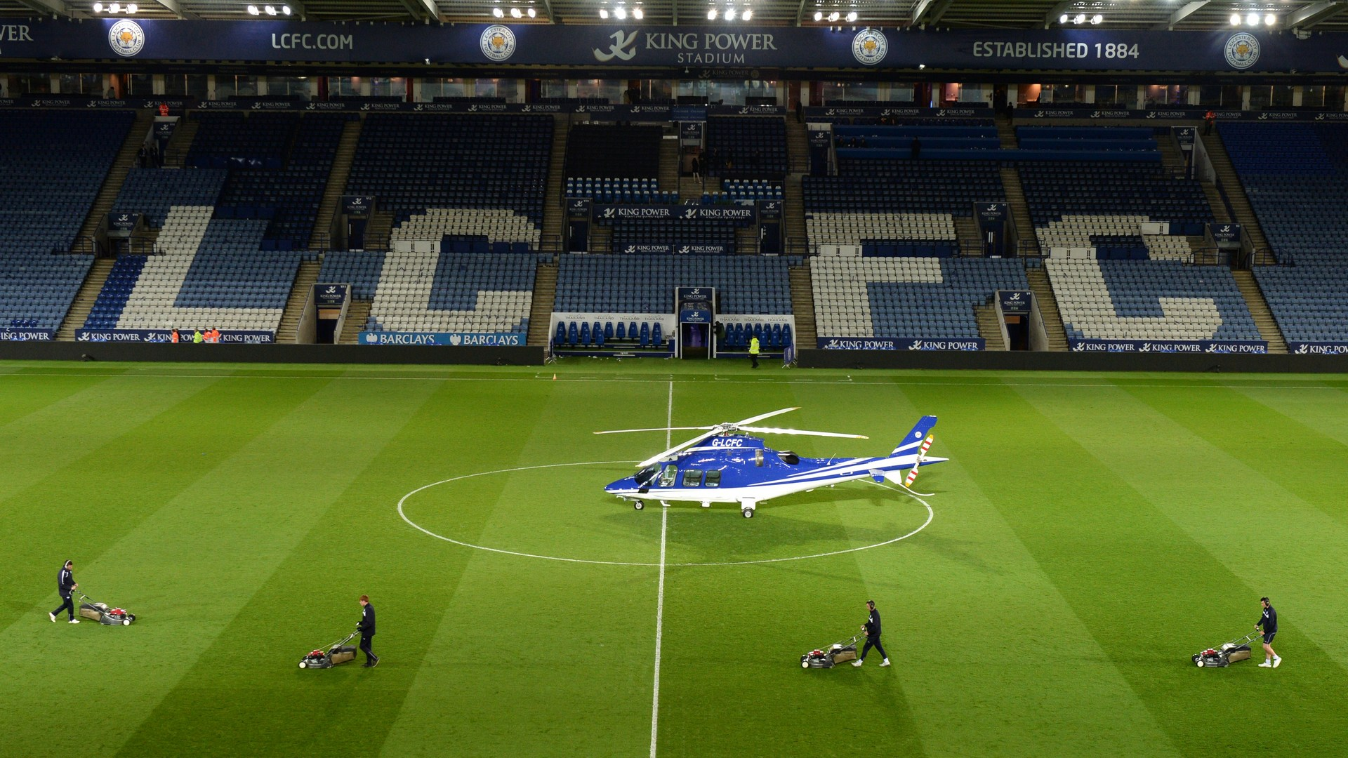 Helicopter belonging to Leicester City chairman crashes outside football stadium