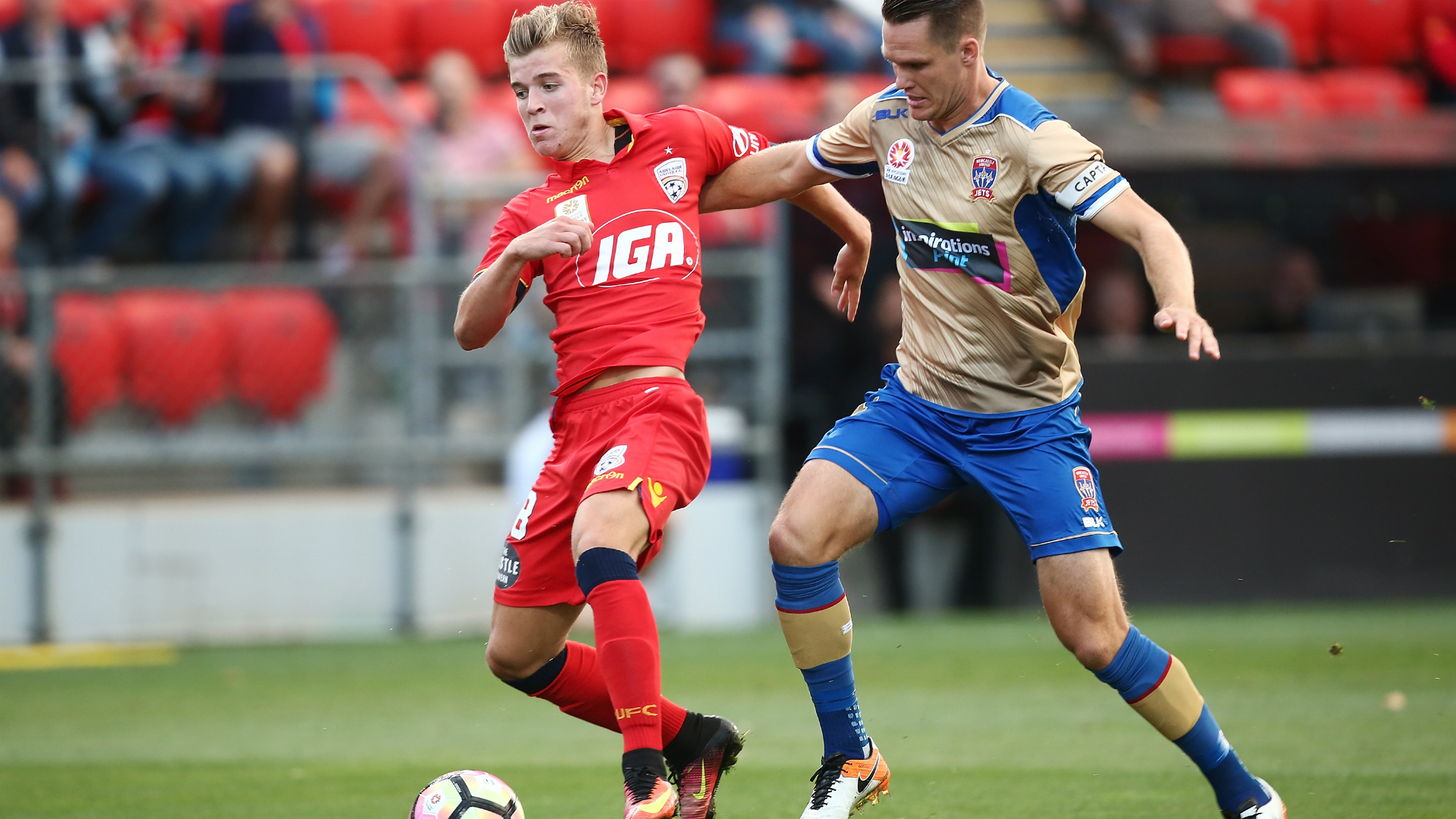 Riley McGree Adelaide United v Newcastle Jets A-League 17022017