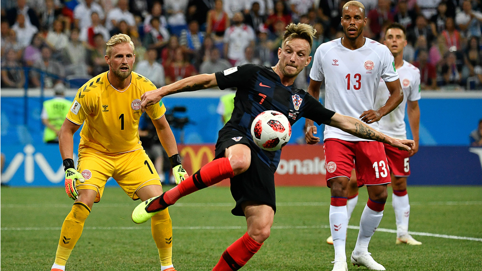 Ivan Rakitic Kasper Schmeichel Mathias Jorgensen Croatia Denmark World Cup 01072018