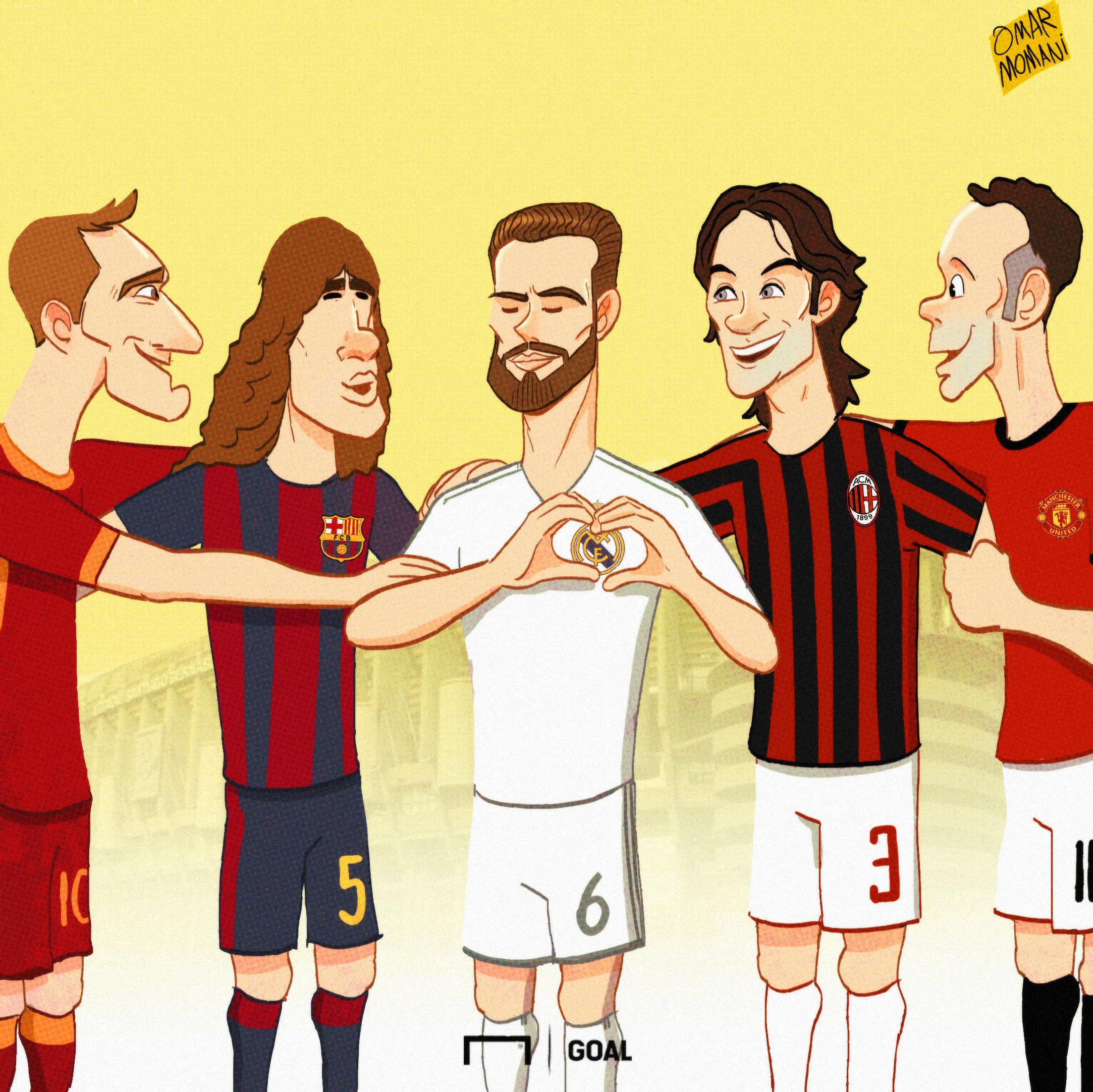 Cartoon: Nacho Fernandez joining the One Club Men Totti, Puyol, Maldini and Giggs