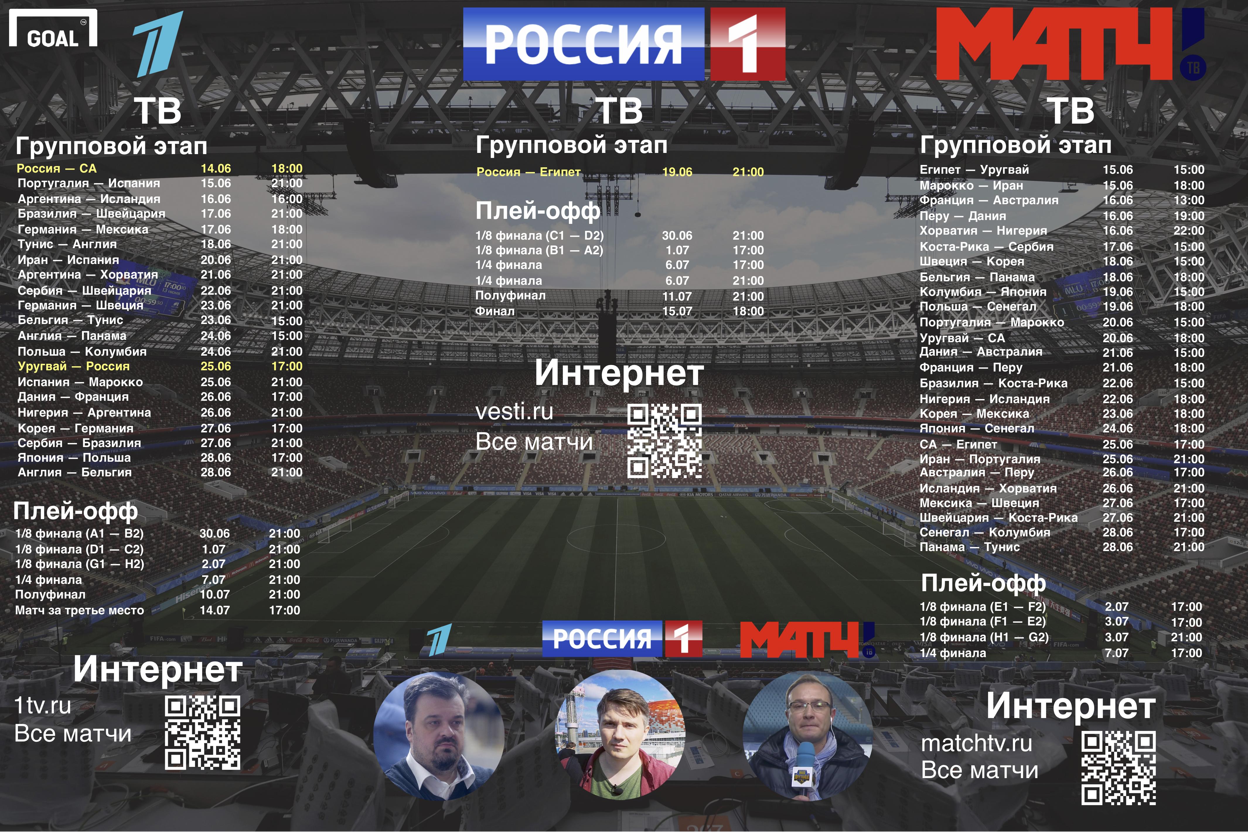 Инфографика. Матч ЧМ-2018 на российских каналах