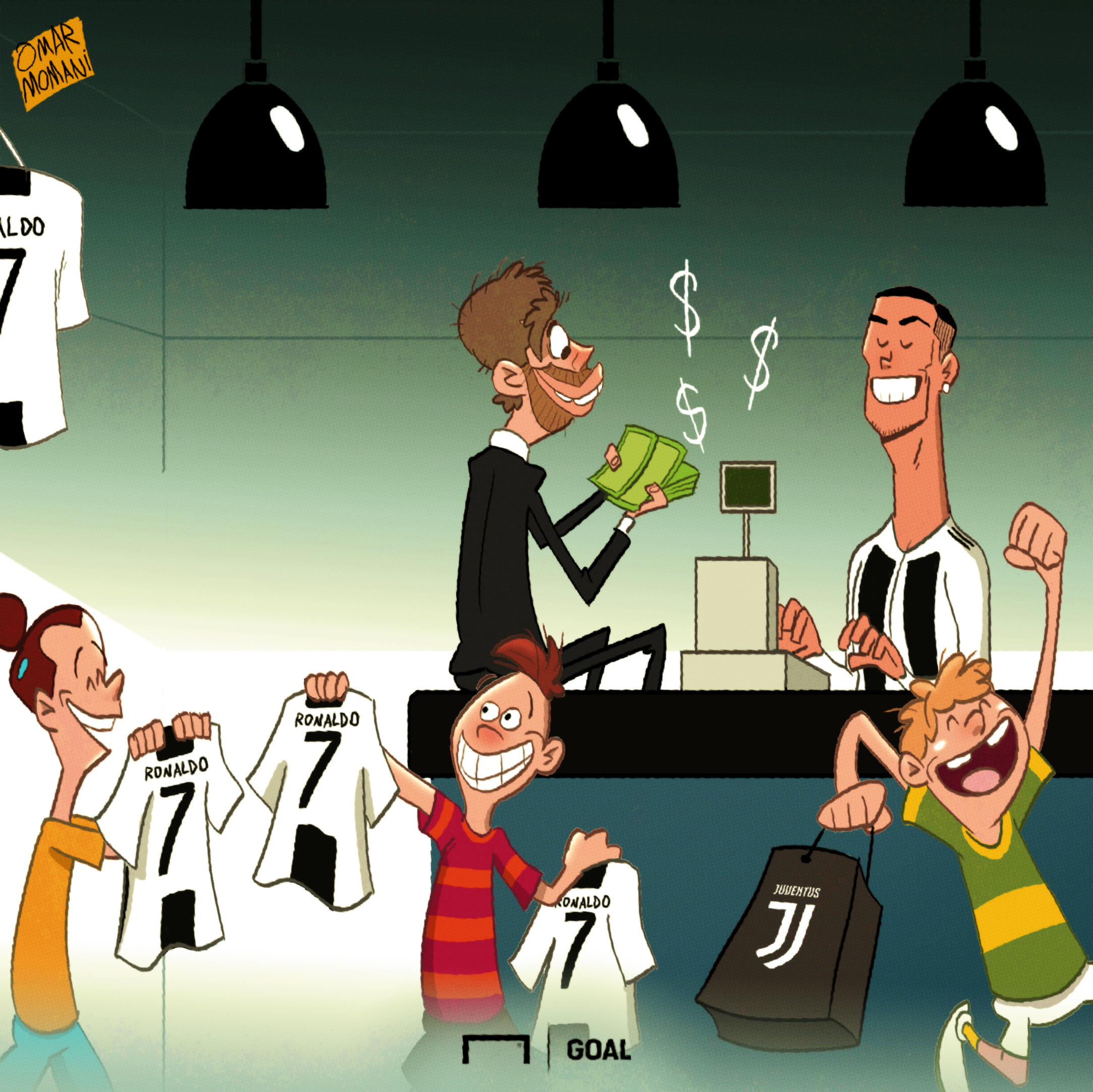 Cartoon Cristiano Ronaldo shirt sale