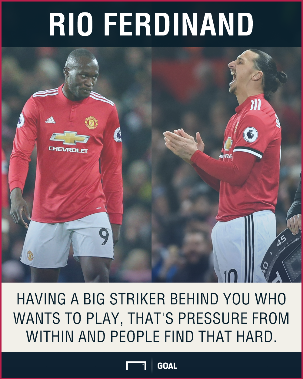 Romelu Lukakau Zlatan Ibrahimovic pressure Rio Ferdinand