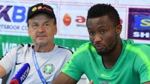 Gernot Rohr and John Obi Mikel of Nigeria